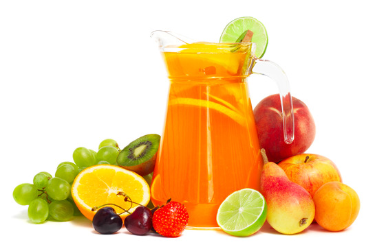Fruit pile and juice in pitcher isolated on white M Fish Packaging